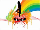 disco background with dancing girl
