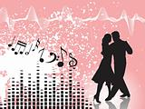 disco theme silhouette of tango dancer in red, wallpaper