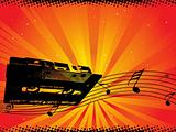disco theme with audio cassette wallpaper