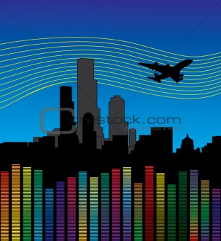 city with airplane and equalizer, volume.