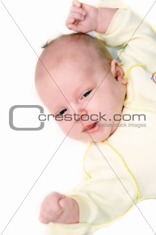baby portrait over white