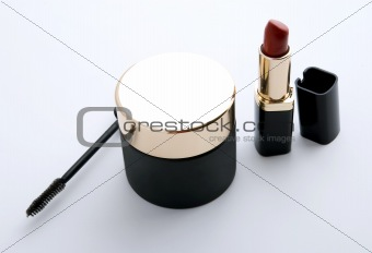 black cosmetics on gray