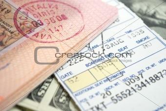 ticket passport and dollars