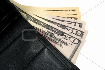 black wallet with dollars