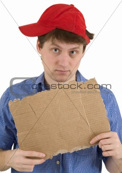 Man in red baseball cap and  tablet