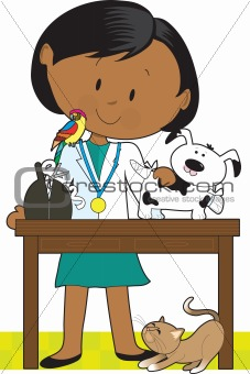 Black Woman Vet and Pets