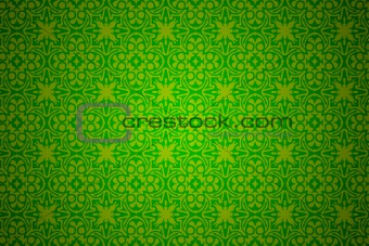 green wallpaper with ornament design.