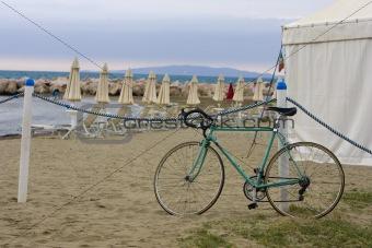 Green Bike by the sea