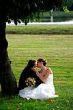 Newlywed couple in love kissing