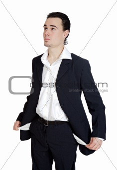 Young businessman in the ruins