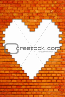 brick wall with heart shape