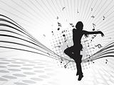dancing girl on silver gray musical background, illustration
