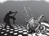 dancing people background with saxophone, vector illustration