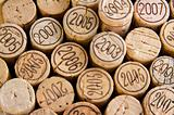 background shot of wine corks