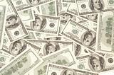 Many Dollars on white background