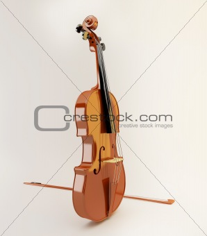 Beautiful violin on white background