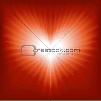 Glowing red and white heart for Valentine, romance, etc