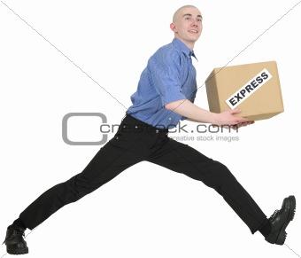 Man and carton box