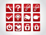 vector beautiful web glassy icons set, red