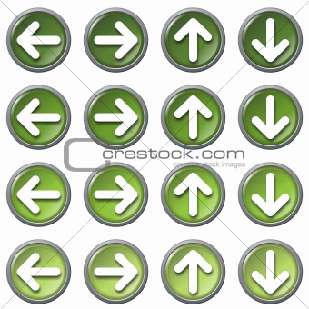 Arrows web icons, green series, isolated in white