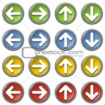 Arrows web icons, colorful, isolated in white