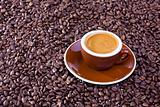 espresso cup and coffee beans on white background