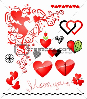 Various variants of hearts icon