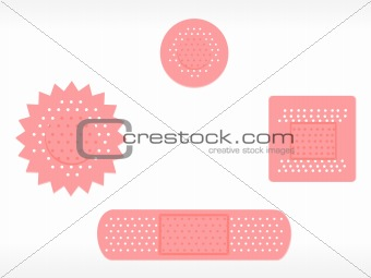 four adhesive plaster set, on white background