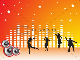 four dancing people with stars and musical graph on orange background, illustration