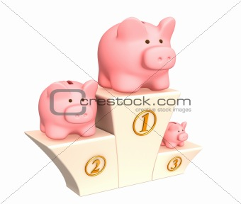 3d piggy banks on a pedestal