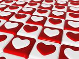 chess love, 3d red and white hearts over chess-board