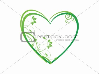 floral in heart frame theme, green