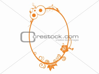 floral in yellow oval frame theme, vector