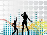 funky dancers vector with musical background, wallpaper
