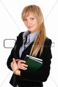 Business woman with a notepad. Isolated over white.