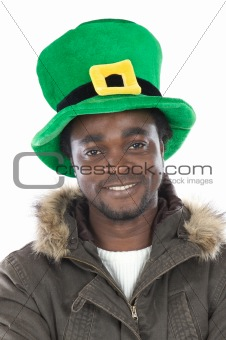 African American with saint patrick«s hat