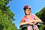 Teenage girl on a bicycle