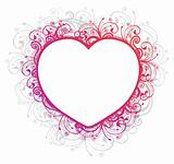 Vector illustration of floral heart frame