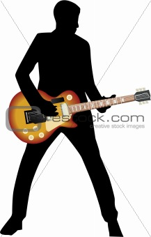 black silhouette man and guitar
