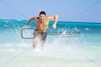 running out of the ocean