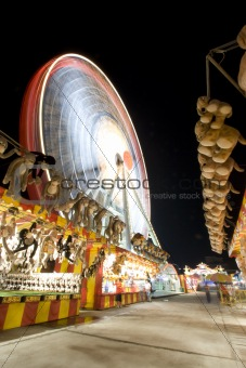 carnival ground with a a ferris wheel