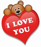 A brown bear with red heart