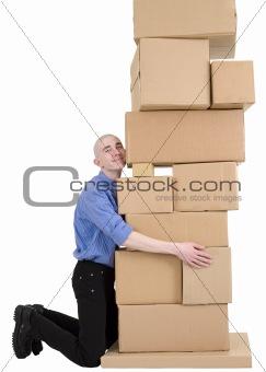 Postman embrace cardboard boxes