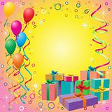 Balloon Background with Gift Boxes