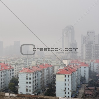 air pollution over the town