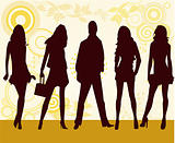Fashion girls and man - vector illustration