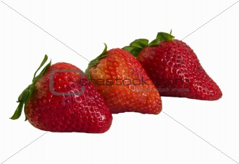 three fresh strawberrry's