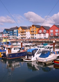 Houses and boats in a Marina