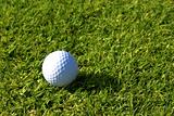 Single golfball on green grass.