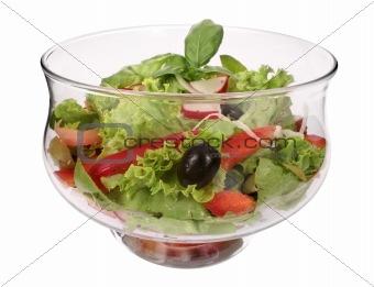 Salad bowl with fresh salad and tomato